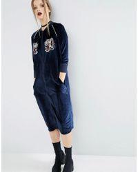 ASOS Blue Velvet Bomber Dress With Tiger Embroidery