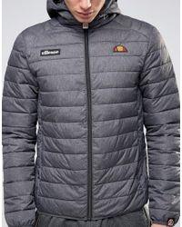Ellesse Gray Padded Jacket With Hood for men