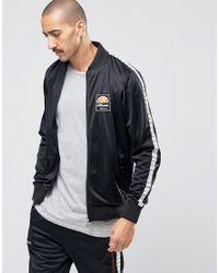 Ellesse Black Track Jacket With Taping for men