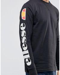 Ellesse Black Long Sleeve T-shirt With Sleeve Logo for men