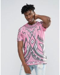 Jaded London | Pink Longline T-shirt With All Over Kaleidascope Print for Men | Lyst