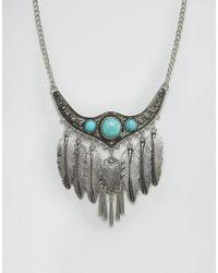 Ashiana | Metallic Leaf Detail Statement Festival Necklace | Lyst