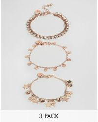 Ashiana | Metallic 3 Pack Bracelets With Star And Coin Detail | Lyst