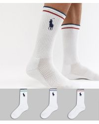 Lot de 3 paires de chaussettes avec grand logo joueur de polo - Blanc/multicolore Polo Ralph Lauren pour homme en coloris White