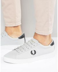 Fred Perry Gray Spencer Canvas Trainers