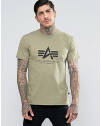 Alpha Industries Green T-shirt With Logo In Regular Fit Olive for men