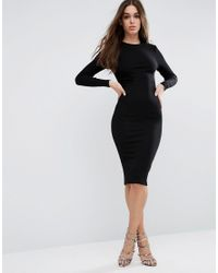 ASOS | Black Midi Bodycon Dress In Rib With Long Sleeves | Lyst