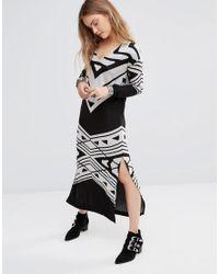 Free People | Black Swit Maxi Dress In Bauhaus Print | Lyst