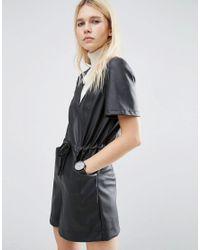 ASOS | Black Leather Look Playsuit | Lyst