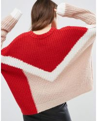 ASOS - Red Chunky Jumper In Chevron Colour Block - Lyst