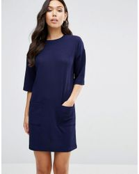 ASOS | Blue Shift Dress In Texture With Pockets | Lyst