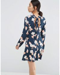 ASOS   Blue High Neck Skater Dress With Open Back In Geo Floral Print   Lyst