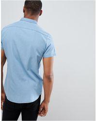 Chemise manches courtes en jean coupe classique - Délavé bleu clair New Look pour homme en coloris Blue