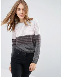 ASOS | Gray Jumper In Metallic Stripe | Lyst