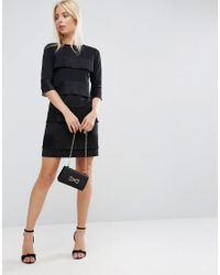 ASOS Black Shift Dress With Pleated Frill Detail