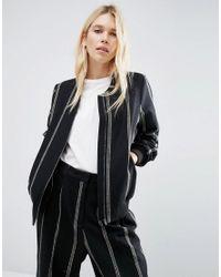 ASOS | Black Pinstripe Wool Bomber Jacket | Lyst