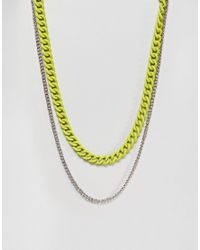 ASOS - Metallic Double Layer Neckchain With Fluro Yellow Finish for Men - Lyst