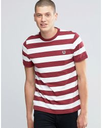 Fred Perry | T-shirt With Stripes In Snow White/maroon for Men | Lyst