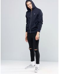 Fred Perry Blue Hoodie With Zip Through In Navy for men