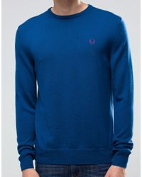 Fred Perry Jumper With Crew Neck In Service Blue for men
