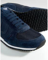 Armani Jeans Logo Runner Trainers - Blue for men