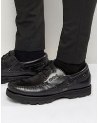 Kickers Black Bosley Leather Boat Shoes for men