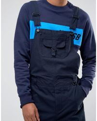 ASOS Blue Dungarees With Pocket Details In Navy for men