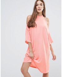 Liquorish Pink Cold Shoulder Oversized Midi Dress
