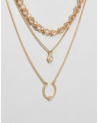 Ashiana - Metallic Multi Layered Necklace - Lyst