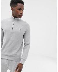 Polo Ralph Lauren – Strukturierter Pullover aus Pima-Baumwolle mit kurzem Reißverschluss in Gray für Herren