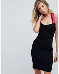 cec6d0a7443e9 Versace Jeans Bodycon Dress With Logo Tape Halter Neck in Black - Lyst