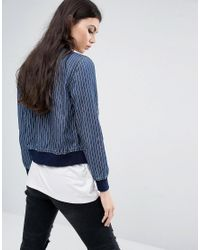 Noisy May Tall - Blue Denim Pin Stripe Bomber Jacket - Lyst