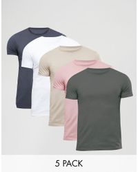 ASOS | Multicolor 5 Pack Muscle T-shirt Save for Men | Lyst