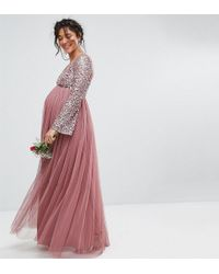 69fdd3eb44c22 Maya Maternity - Purple Long Sleeve V Neck Maxi Dress With Tonal Delicate  Sequins - Lyst