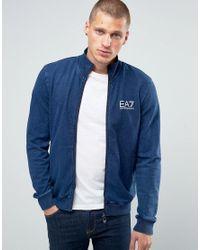 EA7   Blue Emporio Armani Zip Up Sweat Jacket for Men   Lyst