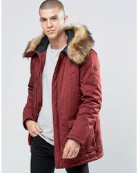 09fedbc11 Men's Red Parka With Faux Fur Trim In Burgundy