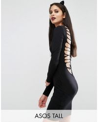 ASOS | Black Skeleton Cut Out Back Mini Dress | Lyst