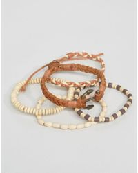 ASOS - Brown Asos Leather And Beaded Bracelet Pack In Tan With Anchor for Men - Lyst