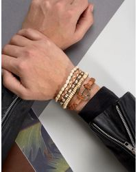 ASOS - Brown Leather And Beaded Bracelet Pack In Tan With Anchor for Men - Lyst