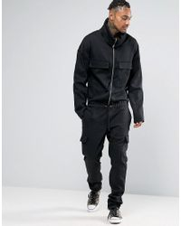 ASOS Green Boiler Suit With Shawl Collar In Washed Black for men