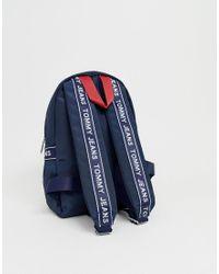 Tommy Hilfiger Mini-rugzak Van Gerecycled Polyester Met Logobies in het Blue