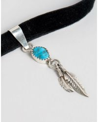 Child Of Wild - Metallic Feather Charm Choker - Lyst