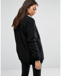 New Look Black Borg Lined Bomber