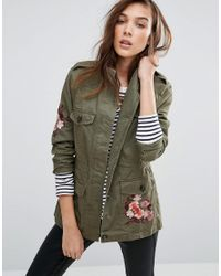 New Look Green Utility Jacket With Tiger Embroidered Back