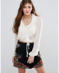 Band Of Gypsies | Multicolor Ruffle Front Blouse | Lyst