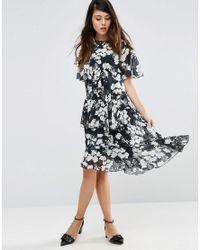 ASOS | Black Ruffle Midi Tea Dress In Mono Floral Print | Lyst