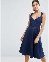 ASOS | Blue Deep Plunge Scuba Skater Sweetheart Midi Dress | Lyst