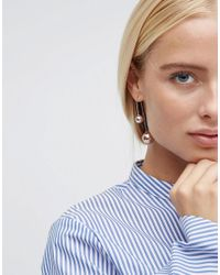 ASOS - Metallic Metal Ball Through Earrings - Rose Gold - Lyst