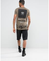 ASOS Gray Longline T-shirt With Back Print And Distressed Hem for men