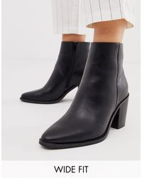 ASOS Black Wide Fit Bluebell Clean Western Boots